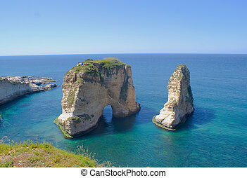 Rouche sea front of beirut the capital city of lebanon