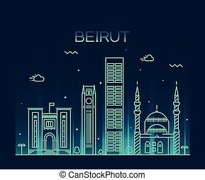 Beirut skyline trendy vector illustration linear - Beirut...