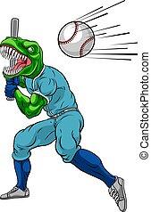beisball, balanceo, dinosaurio, mascota, murciélago, jugador