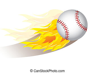 beisball - baseball ball with fire over white background....