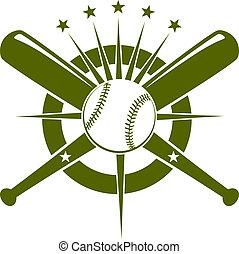beisball, campeonato, emblema, o, icono