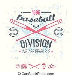 beisball, colegio, emblema, división