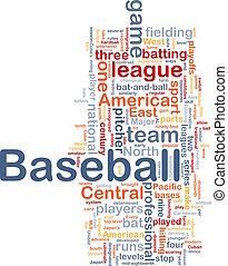 beisball, deportes, plano de fondo, concepto