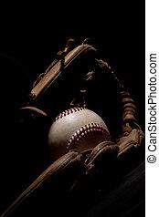 beisball, dramático, guante