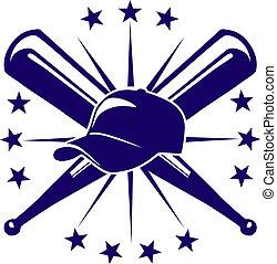 beisball, emblema, o, icono