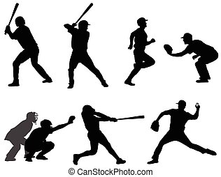 beisball, siluetas, colección, 3