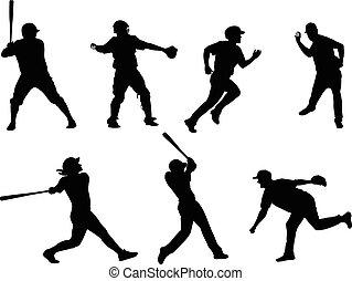 beisball, siluetas, colección, 6