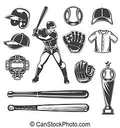 beisball, vector, conjunto, iconos