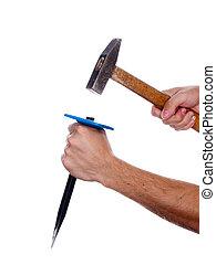 beitel, hamer, hand