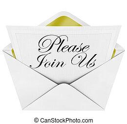beitreten, bitte, offiziell, briefkuvert, uns, merkzettel, einladung