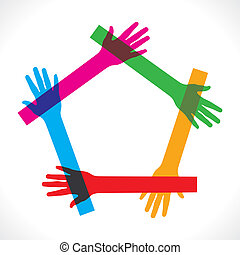 beitreten, bunte, &, machen, hand, pentagon