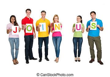 beitreten, multiethnic, leute, wort, uns, gruppe, machen