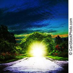 bejárat, fordíts, eden., elvont, lelki, háttér