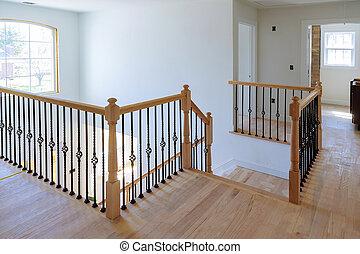 bejárat, lépcsősor., keményfa, floor., fából való, belső kilátás