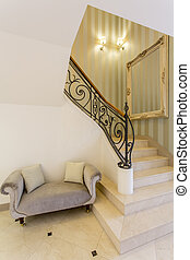 bejárat, noha, márvány, lépcsősor