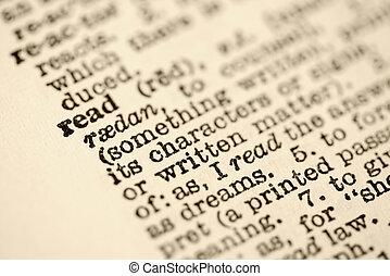 bejárat, szótár, read.