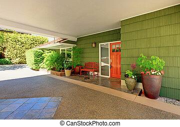 bejárati ajtó, és, zöld épület, noha, kedves, járdaszegély, appeal.