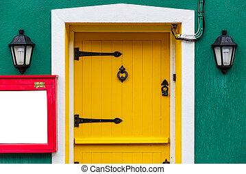bejárati ajtó, sárga