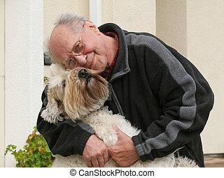 bejaarde, en, zijn, dog