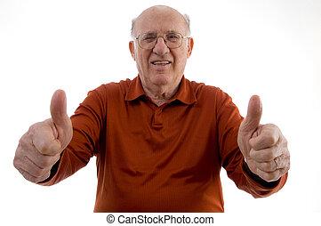 bejaarde, het tonen, duim boven, met, beide, handen