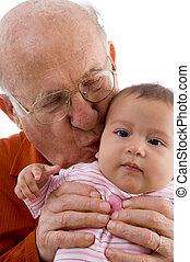 bejaarde, kussende , de, schattig, baby