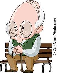 bejaarde, op, bankje