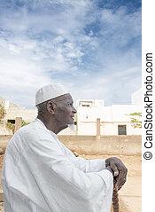 bejaarde, tachtig, afrikaan, jaren