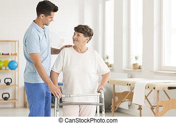 bejaarden, afdeling, gebruik, lopend met vensterraam