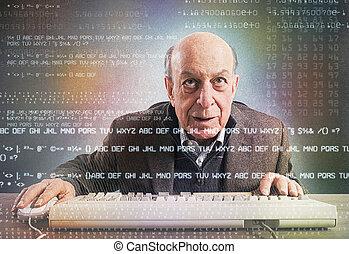 bejaarden, computerkraker, nerd