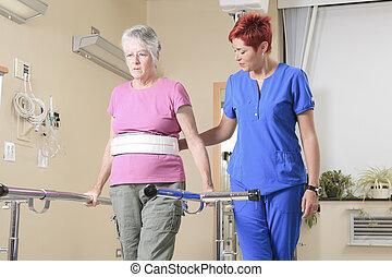 bejaarden, dame, met, haar, physiotherapists, in, een,...