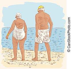bejaarden, echtgenoten, strand