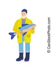 bejaarden, grijs, witte , gebaard, visje, character., fish...