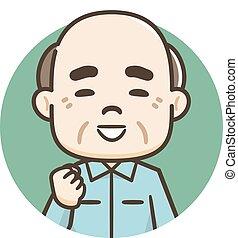 bejaarden, illustratie, man, het glimlachen