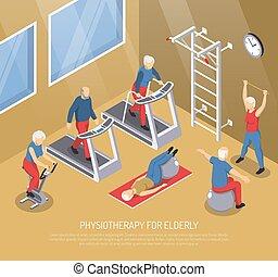 bejaarden, isometric, vector, fysiotherapie, illustratie