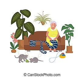 bejaarden, knitwear, vrouw, knits