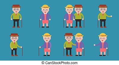 bejaarden, oma, en, opa, paar, pictogram, plat, ontwerp