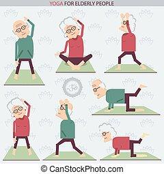 bejaarden, yoga, lifestlye.vector, illustratie, mensen