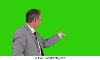 bejaarden, zakenman, kijken naar van het fototoestel