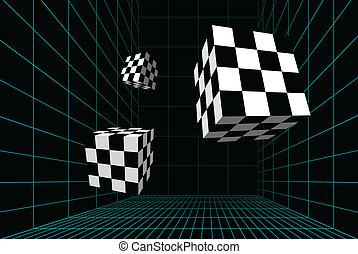 bekabeld, kamer, met, checkered, blokje