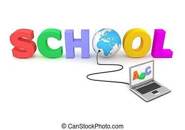 bekabeld, om te, kleurrijke, school, -, blauwe bol