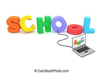 bekabeld, om te, kleurrijke, school