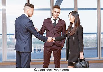 bekantskap, med, a, färsk, co-worker