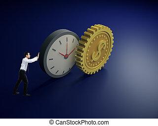 bekapcsol, óra, elvont, rámenős, dollár, üzletember