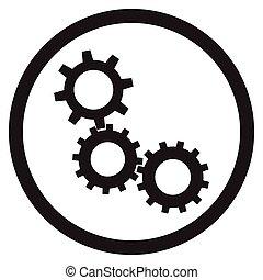bekapcsol, cogwheel, szerkezet, vektor, fekete, fehér, ikon
