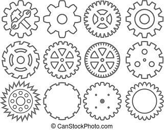 bekapcsol, gyűjtés, gép, bekapcsol, (wheel, cogwheel, vektor, set)