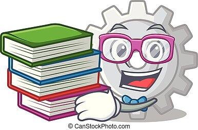 bekapcsol, könyv, tervezés, diák, karikatúra, legjobb, ikon