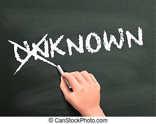 bekend, onbekend, het veranderen, woord, hand