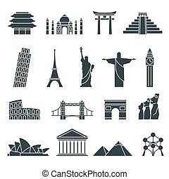 bekende & bijzondere plaatsen, abstract, set, wereld, iconen