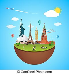 bekende & bijzondere plaatsen, illustratie, vector, wereld reis, concept., design.