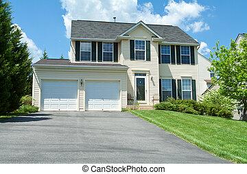 bekijk huis, vinyl, voorkant, enkele familie, md, siding